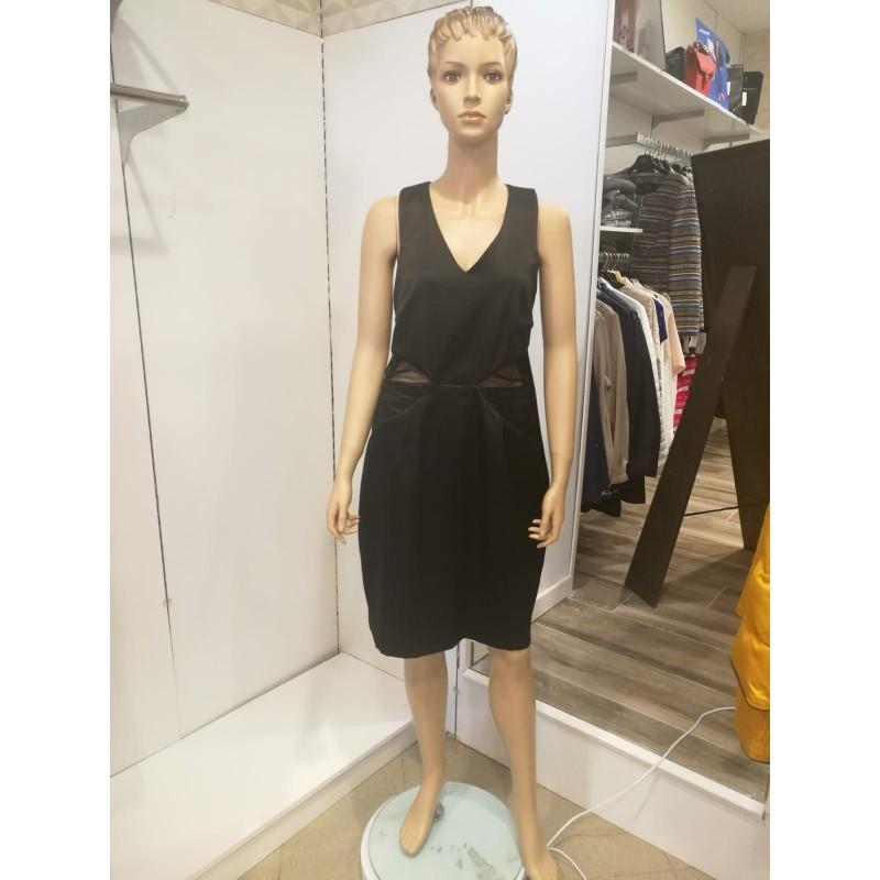 Vestido Negro Corto Transparencia D Punta En Blanco